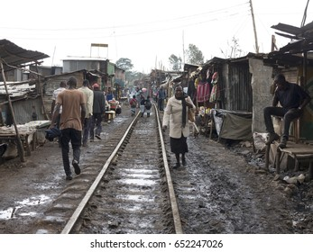 KIBERA, KENYA-NOVEMBER 5, 2015: Unidentified people live and work in Kibera, Kenya. Kibera is the largest urban slum in Africa.