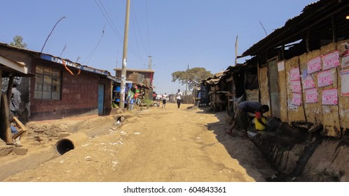KIBERA SLUM/KENYA - SEPTEMBER 16 2013: Dwellings in Kibera slum. The largest urban slum in Africa near Nairobi City
