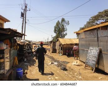 KIBERA SLUM/KENYA - SEPTEMBER 16 2013: Dwellings in Kibera slum. The largest urban slum in Africa near Nairobi City