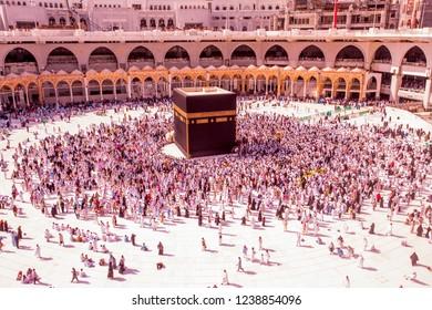 Kiblat, Saudi ARABIA-April 2018: Muslim from all around the world revolving around the kiblat in Mecca Saudi ARABIA,