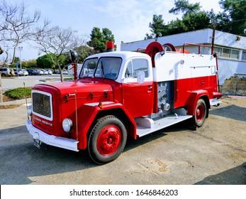 Kibutz Evron, Israel - February 16 2020: Well preserved Magirus Deutz fire truck