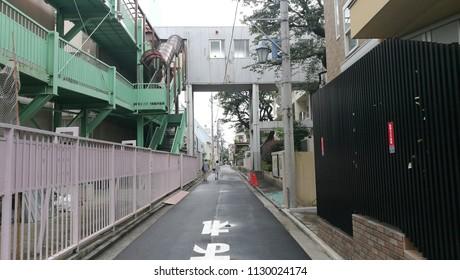 KICHIJOJI, JAPAN - 04 JULY 2018: A cityscape of Kichijoji with pastel color buildings