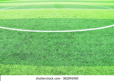 Kick off circle line in football field prepared for football match