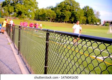 Kickball field and teammates game