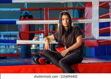 Kickboxer girl in training