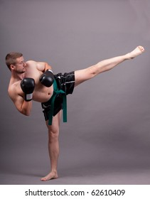 kick-boxer training before fight
