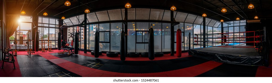 Kickboxing gym, nobody in boxing sport club and fitness center