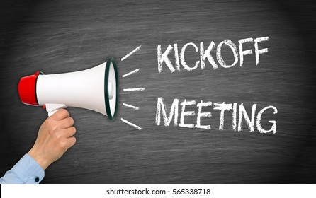 Kickoff Meeting - megaphone with female hand and text