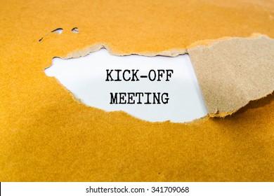 Kick-off meeting Message on brown envelope