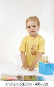 kid - activity in preschool - over white