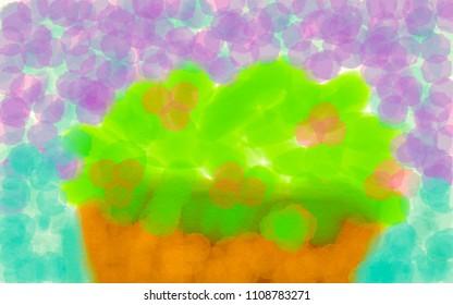 Kid art concept : flower in pot.