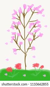 Kid art concept : Hand-drawn illustration of Sakura tree isolated on white background.