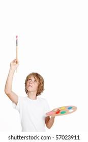 kid artist painting blank space