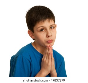 A kid is asking for permission; isolated on the white background