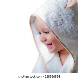 Kid with a bathrobe on a white background