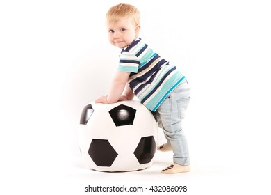 kid with big ball on white background