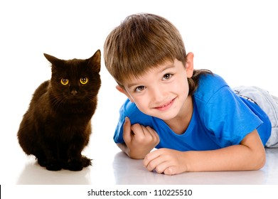 kid and black cat. isolated on white background