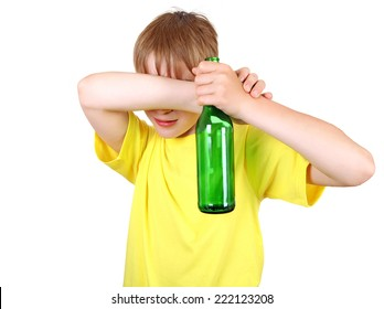 Kid with a Bottle of the Beer on the White Background