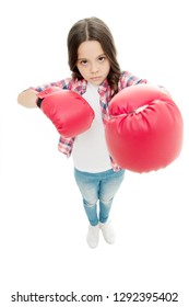 Kid boxing gloves isolated white. Child boxer defend herself. Sport activity. Boxing practice. Feminist movement. Self defend strategy. Attack and defend skills. Defend yourself. Girl power concept.