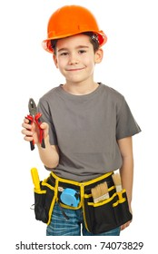Kid boy giving pliers isolated on white background