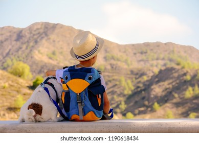 Kid boy and his pet dog having rest on stone bench during hiking in mountains