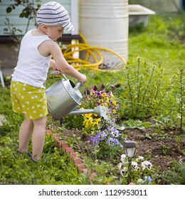 Kid boy watering plants with watering can in the garden. Adorable little child helping parents to grow vegetables. Activities with children outdoors.
