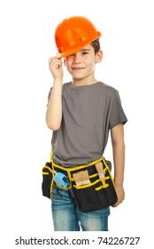 Kid boy wearing orange helmet isolated on white background