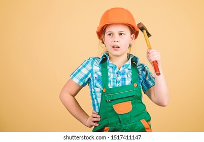 Kid builder girl. Build your future yourself. Initiative child girl hard hat helmet builder worker. Tools to improve yourself. Child care development. Builder engineer architect. Future profession.
