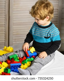 Kid builds of plastic blocks. Childhood and educational activities concept. Toddler with curious face plays with colorful bricks. Boy plays with on wooden wall background, defocused