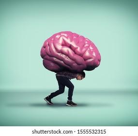 Niño cargando un cerebro en la espalda.