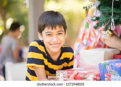 Kid celebrate Christmas and new year party with family