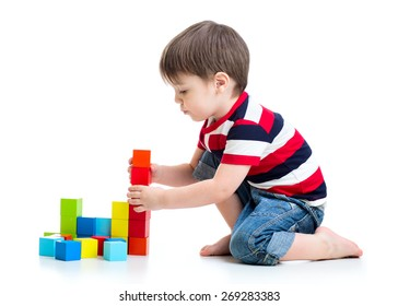 kid child boy playing on floor isolated