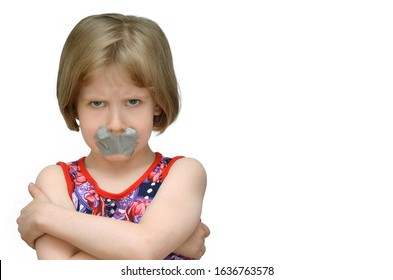 kid child silently sealed mouth sealed with adhesive tape violence
