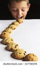kid chocolate chip cookie trail
