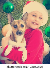 Kid in a Christmas hat and dog