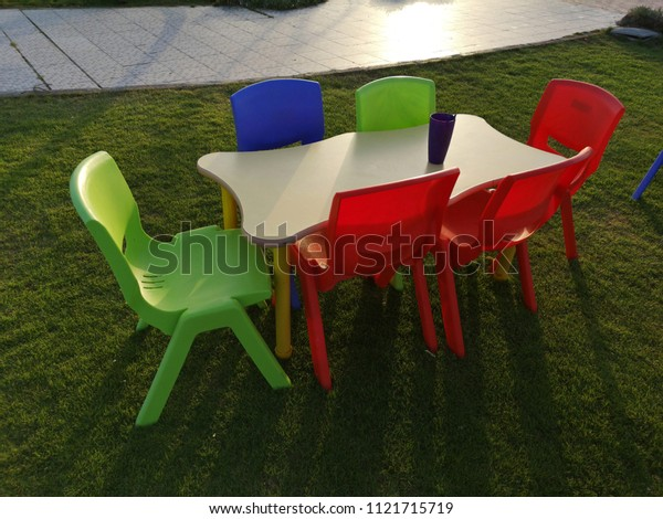 Surprising Kid Coloring Table Chair Royalty Free Stock Image Machost Co Dining Chair Design Ideas Machostcouk