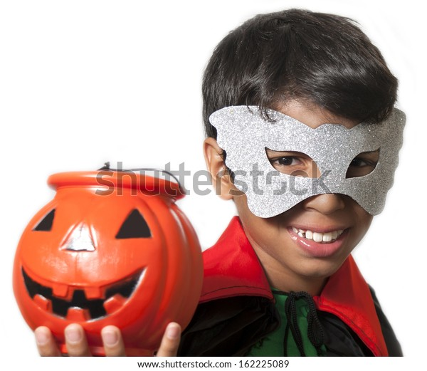 kid with costume in halloween