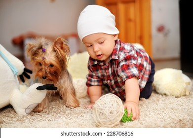 the kid and dog play in a nursery