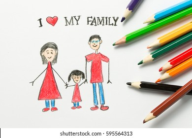 Kid drawing of happy family, father, mother and daughter hold hands together