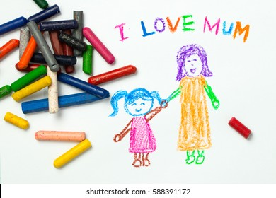 Kid drawing of mother holding her daughter for happy mother's day theme