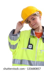 Kid dressed up as a construction worker