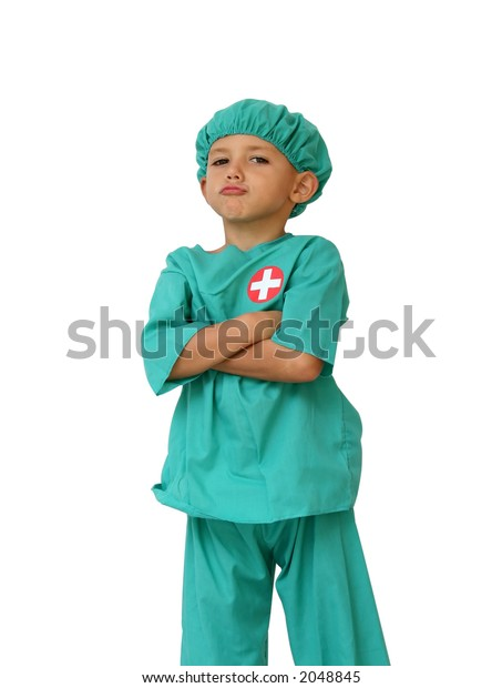 kid dressed as a doctor, with an attitude