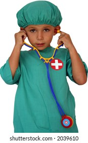 kid dressed as a doctor with stethoscope