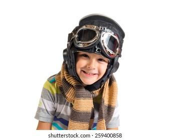 Kid dressed like pilot