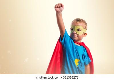 Kid dressed like superhero