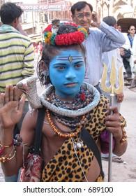 Kid dressed as vishnu