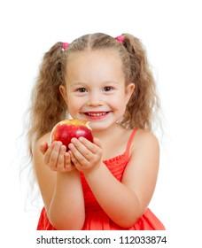 kid eating healthy food apples