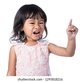 kid expression isolated over white background.pointing to screen