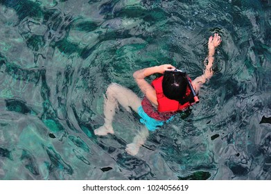 Kid Feeding Fish In The Ocean With Clear Wate. located at Kapas Island, Terengganu, Malaysia.