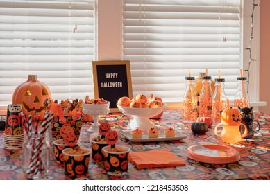 Kid friendly halloween party table